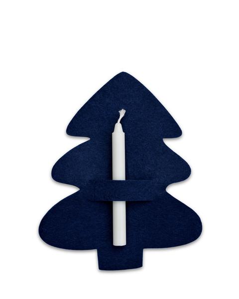 10 MIDNIGHT BLUE CHRISTMAS TREE FELT NAPKIN HOLDERS