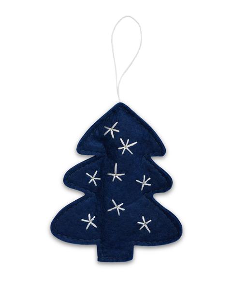 5 MIDNIGHT BLUE FELT CHRISTMAN TREE ORNAMENTS