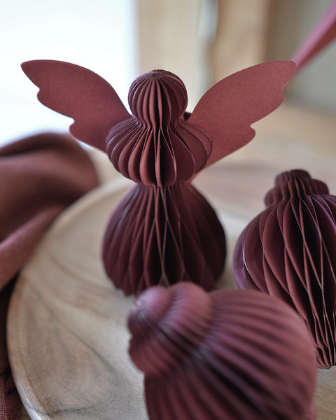 5 CRANBERRY RED PAPER ANGELS