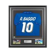 De Hand Van Maradona Roberto Baggio gesigneerd Italië WK 1994 shirt in deluxe frame