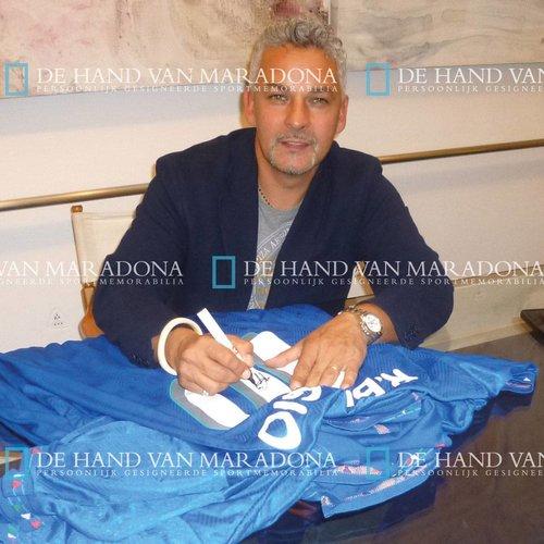 Roberto Baggio gesigneerd Italië WK 1994 shirt - ingelijst