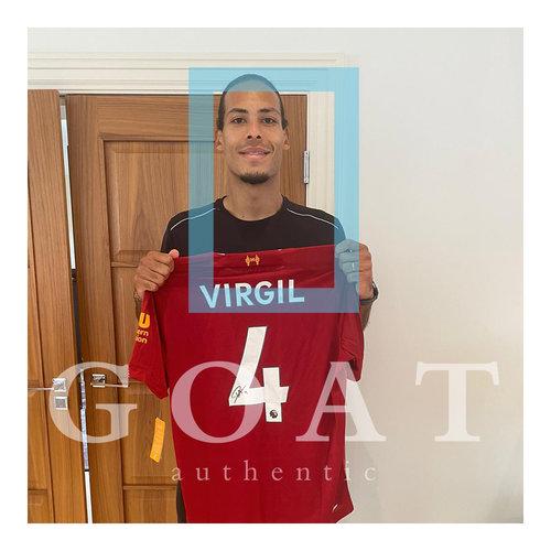 Virgil van Dijk gesigneerd Liverpool shirt - ingelijst