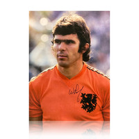 Willem van Hanegem gesigneerd Nederlands elftal foto