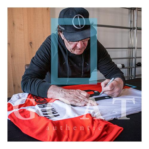 Willem van Hanegem gesigneerd Feyenoord shirt - ingelijst