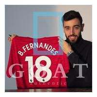 Bruno Fernandes gesigneerd Manchester United shirt 2020-21