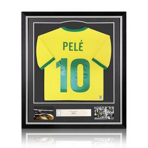 Pelé gesigneerd Brazilië WK 1970 shirt - ingelijst