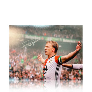 Dirk Kuyt gesigneerd Feyenoord foto landkampioen 2016-17