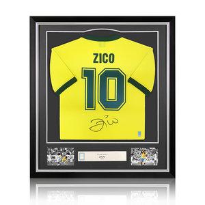 Zico gesigneerd Brazilië WK 1982 shirt - ingelijst