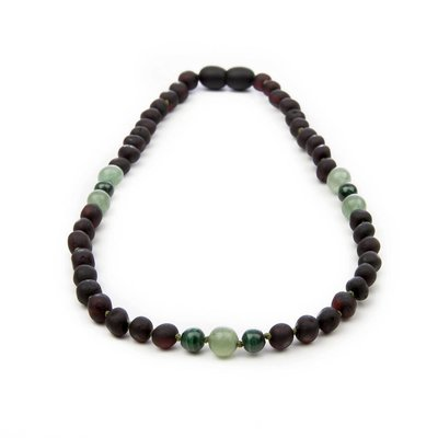 barnsteen Ketting - Raw Black Cherry Malachiet