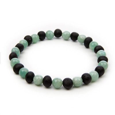barnsteen Armband Volwassenen - Raw Black Cherry Amazonite