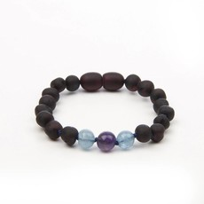 barnsteen Barnsteenarmband Kind - Raw Black Cherry Aquamarine