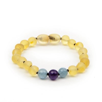 barnsteen Armband Kind - Raw Lemon Aquamarine