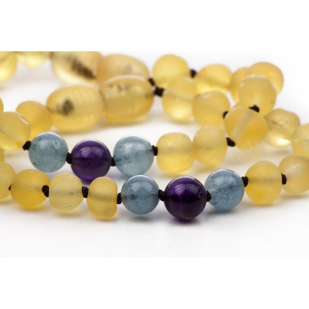 barnsteen Barnsteenarmband Kind - Raw Lemon Aquamarine