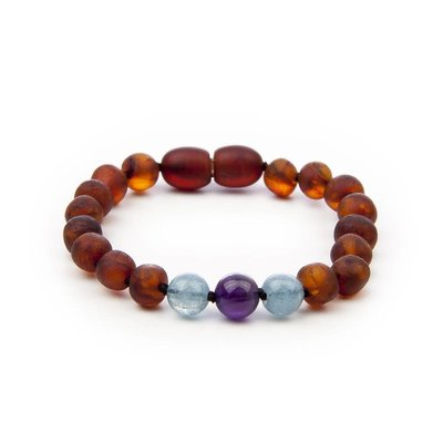 barnsteen Armband Kind - Raw Cognac Aquamarine