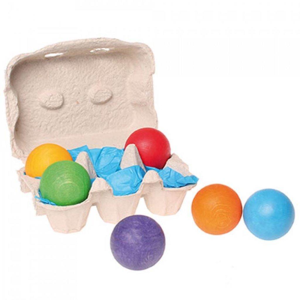 Grimm's 6 houten ballen regenboog