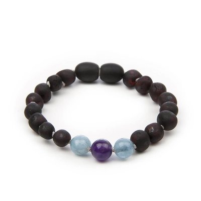 barnsteen Armbandje- Raw Black Cherry Dark Amethyst