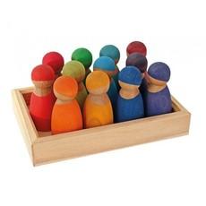Grimm's 12 Regenboog vriendjes -kersenhout