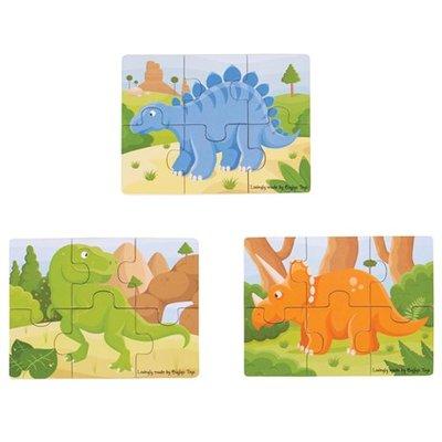bigjigs toys 6- delige puzzels dinosaurussen