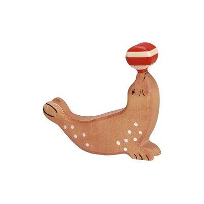 Holztiger Zeehond met bal