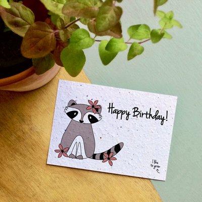 bloom Groeikaart Verjaardag Wasbeer