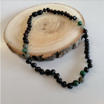 barnsteen Ketting - Raw Black Cherry Jade