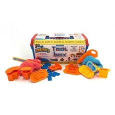 MadMattr Kist met 20 werktuigen + rood & blauw bouwklei