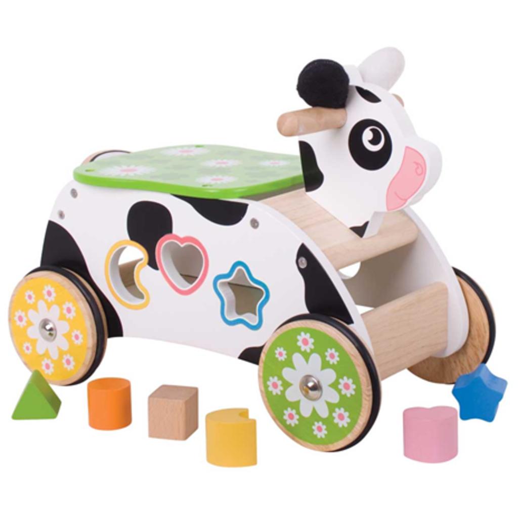 bigjigs toys Loopwagen en sorteerder Koe