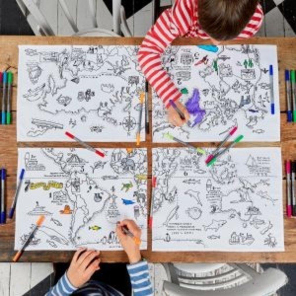 eat sleep doodle Schrijfbare placemats - wereldkaart