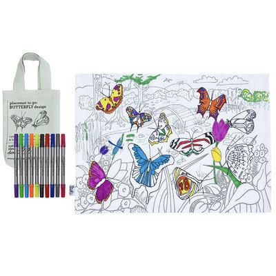 eat sleep doodle Schrijfbare placemat to go - vlinders