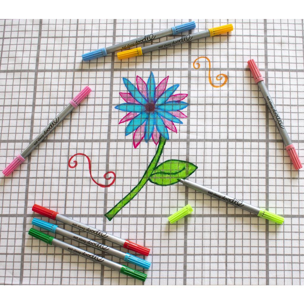 eat sleep doodle Uitwasbare textiel stiften - 10 stuks - pastel