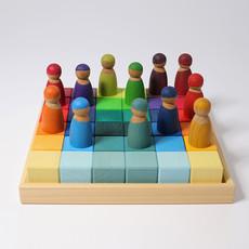 Grimm's Bouwblokken vierkant - regenboog