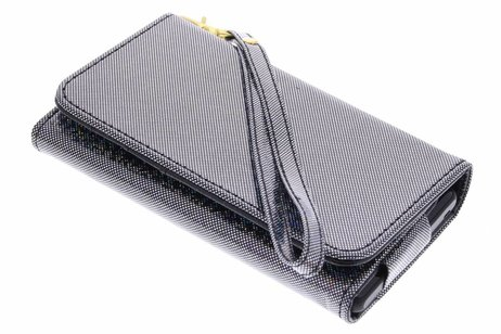 Zwarte universeel glitter portemonnee hoesje maat M