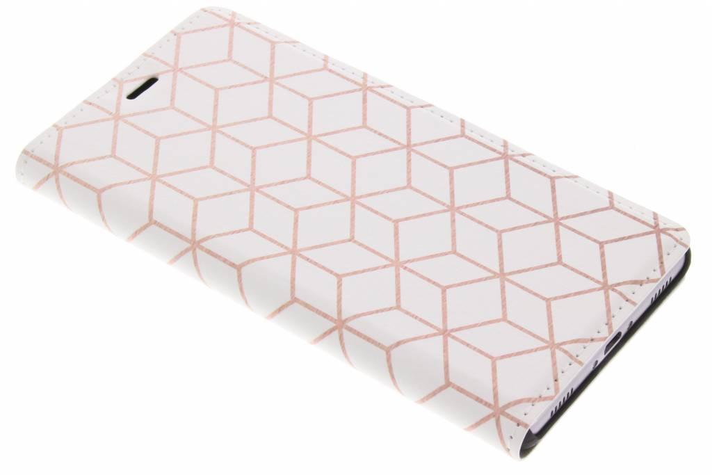 Design Hardcase Booktype voor Huawei P8 - Cubes Rose Gold