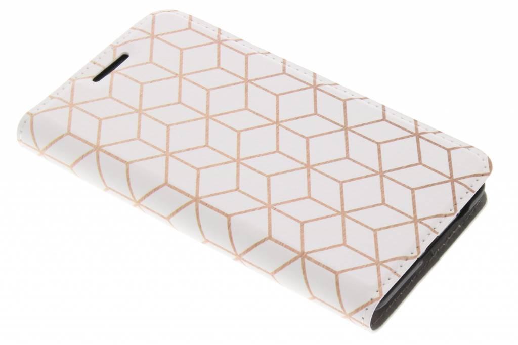 Design Hardcase Booktype voor Samsung Galaxy S2 (Plus) - Cubes Rose Gold