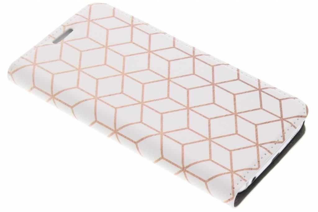 Design Hardcase Booktype voor Samsung Galaxy S6 Edge - Cubes Rose Gold