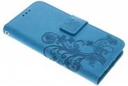 Klavertje Bloemen Booktype voor Samsung Galaxy S6 Edge - Turquoise