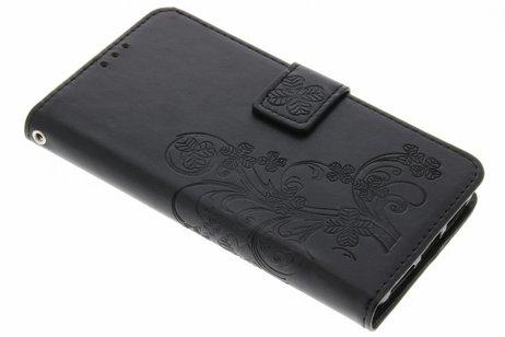 Klavertje Bloemen Booktype voor Huawei Y5 2 / Y6 2 Compact - Zwart