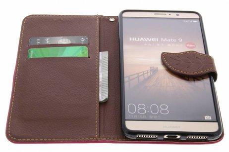 Blad Design Booktype voor Huawei Mate 9 - Fuchsia