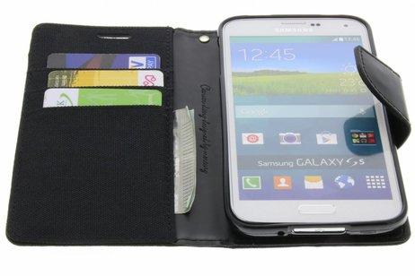 Mercury Goospery Canvas Diary Booktype voor Samsung Galaxy S5 (Plus) / Neo - Zwart