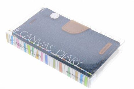 Mercury Goospery Canvas Diary Booktype voor Samsung Galaxy S5 (Plus) / Neo - Blauw