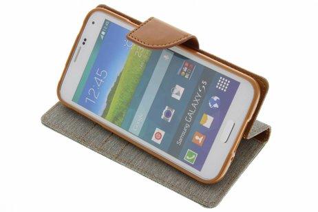 Mercury Goospery Canvas Diary Booktype voor Samsung Galaxy S5 (Plus) / Neo - Grijs