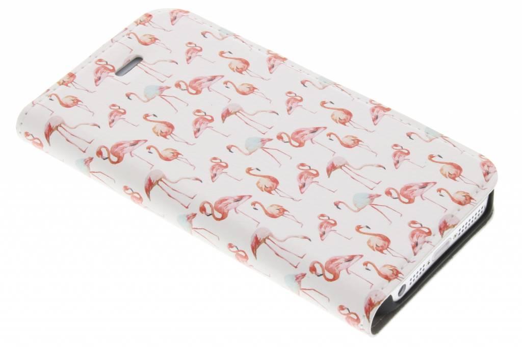 Design Hardcase Booktype voor iPhone SE / 5 / 5s - Flamingo