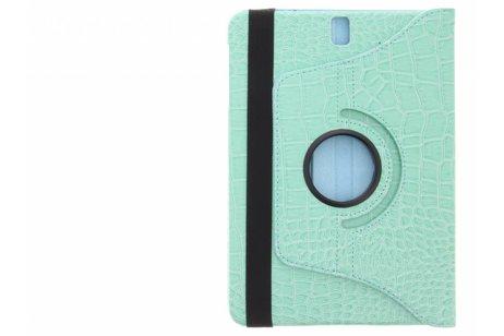 360° Draaibare krokodil Bookcase voor Samsung Galaxy Tab S3 9.7 - Turquoise