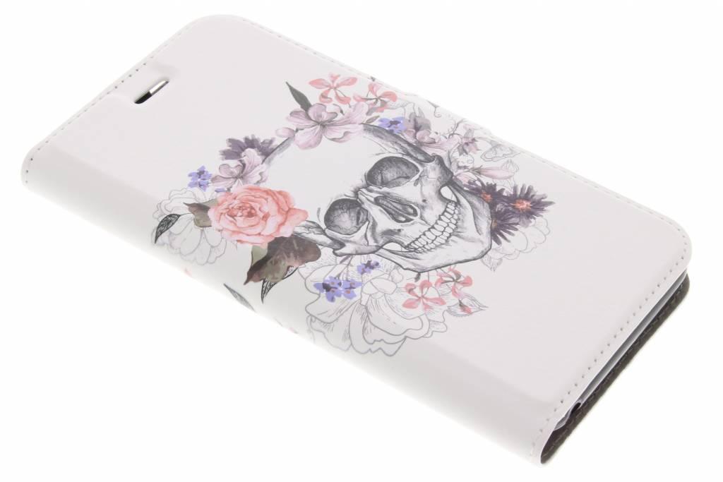Design Softcase Booktype voor Acer Liquid Z6 - Skull Bloemen