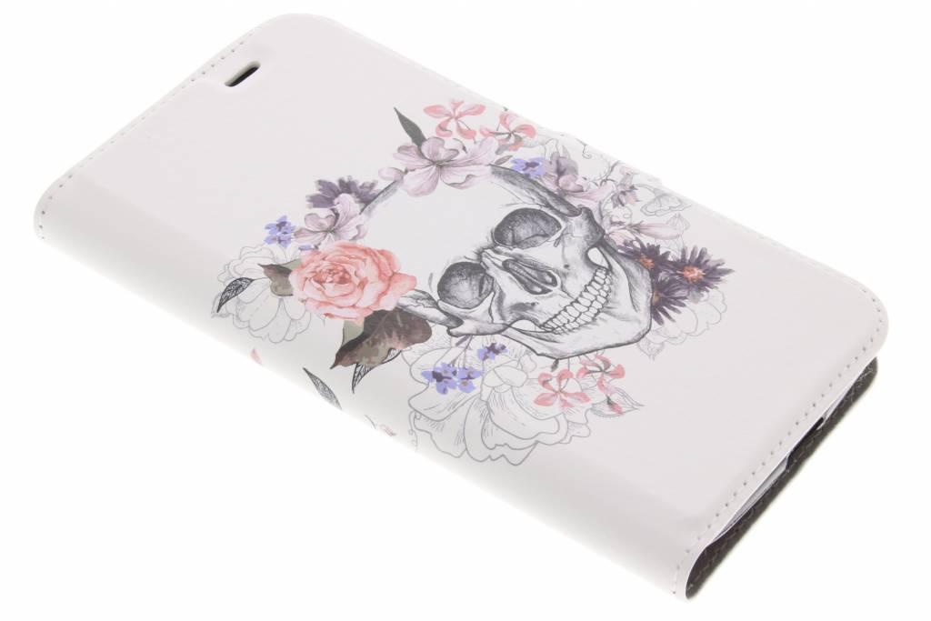 Design Softcase Booktype voor Acer Liquid Zest (4G) - Skull Bloemen