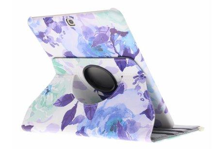 360° Draaibare Design Bookcase voor Samsung Galaxy Tab S2 9.7 - Waterverf Blauw
