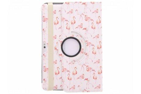 360° Draaibare Design Bookcase voor Samsung Galaxy Tab 2 10.1 - Flamingo