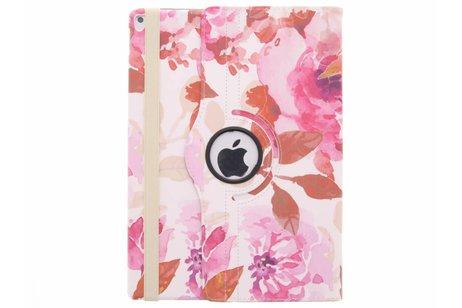 360° Draaibare Design Bookcase voor iPad Pro 12.9 - Bloemen Roze