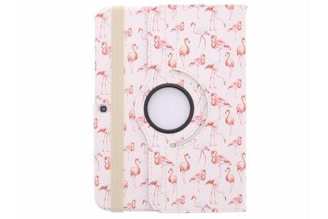 360° Draaibare Design Bookcase voor Samsung Galaxy Tab 3 10.1 - Flamingo