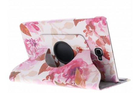 360° Draaibare Design Bookcase voor Samsung Galaxy Tab A 10.1 (2016) - Bloemen Roze